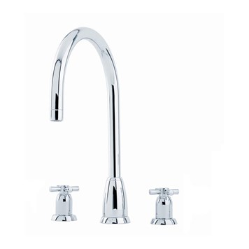 Perrin & Rowe Callisto 3 Hole Crosshead 'C' Spout Sink Mixer - Nickel