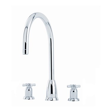 Perrin & Rowe Callisto 3 Hole Crosshead 'C' Spout Sink Mixer - Pewter