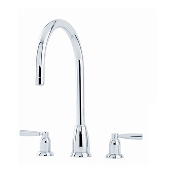 Perrin & Rowe Callisto 3 Hole Lever 'C' Spout Sink Mixer - Nickel