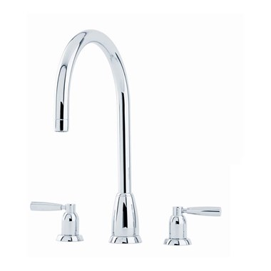 Perrin & Rowe Callisto 3 Hole Lever 'C' Spout Sink Mixer - Pewter