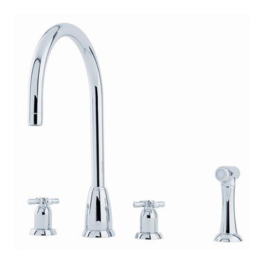 Perrin & Rowe Callisto 4 Hole Crosshead 'C' Spout Sink Mixer & Rinse