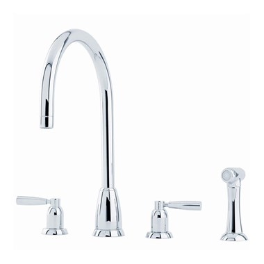 Perrin & Rowe Callisto 4 Hole Lever 'C' Spout Sink Mixer & Rinse