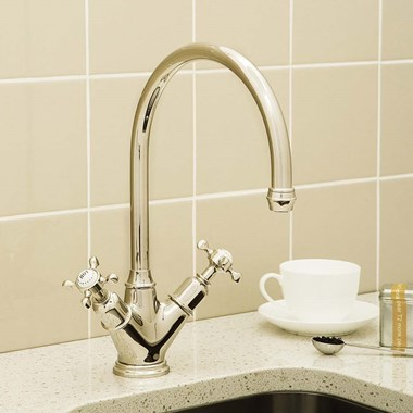 Perrin & Rowe Minoan Twin Crosshead Mono Sink Mixer with Swivel Spout