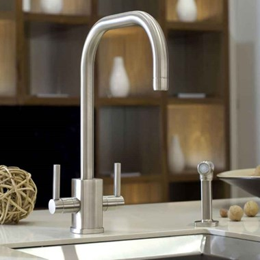 Perrin & Rowe Rubiq 2 Hole Dual Lever 'U' Spout Sink Mixer & Rinse - Pewter