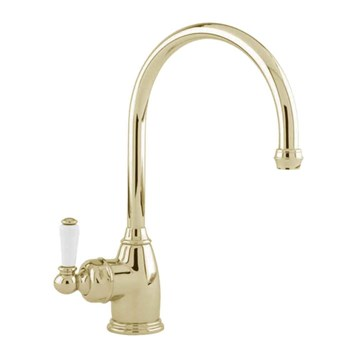 Perrin & Rowe Parthian Mono Sink Mixer with Porcelain Lever Handle & Swivel Spout - Gold