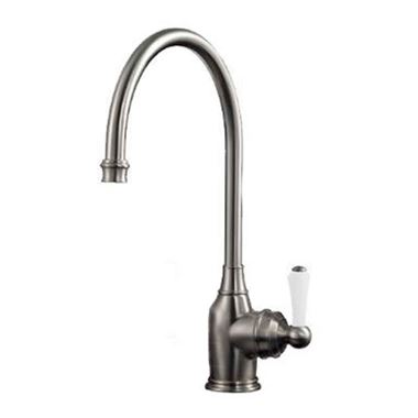 Perrin & Rowe Parthian Mono Sink Mixer with Porcelain Lever Handle & Swivel Spout - Pewter