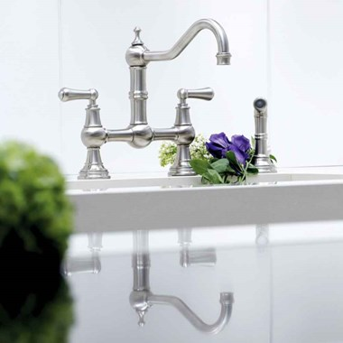 Perrin & Rowe Provence Bridge Kitchen Tap with Levers & Pull Out Faucet Hose