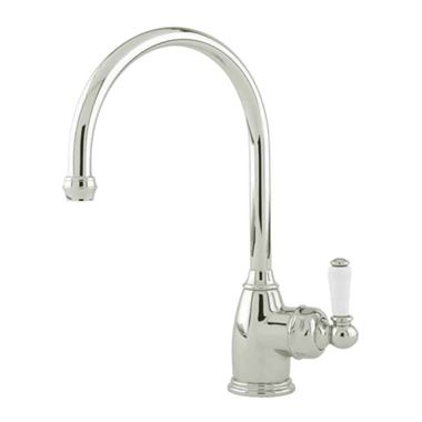 Perrin & Rowe Parthian Mono Sink Mixer with Porcelain Lever Handle & Swivel Spout - Polished Nickel