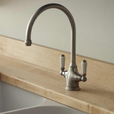 Perrin & Rowe Phoenician Mono Sink Mixer with Porcelain Lever Handles - Pewter