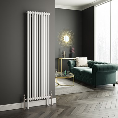 Butler & Rose Designer Vertical 2 Column White Radiator - 1800 x 473mm