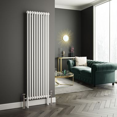 Butler & Rose Vertical Designer Column Style White Radiator - 1800 x 465mm