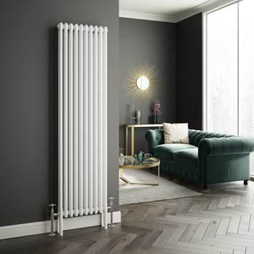 Butler & Rose Designer Vertical 3 Column White Radiator - 1800 x 473mm