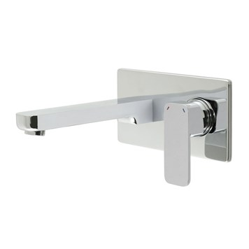 Vado Phase Wall Mounted 2 Hole Basin Mixer with Rectangular Backplate
