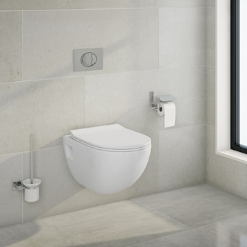 Phoebe Wall Hung Toilet Pan & Wafer Thing Seat with Wall Hung Frame, Cistern & Large Push Button Plate