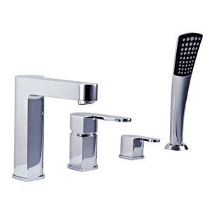 Phoenix Foxie 4 Hole Deck Mounted Bath Mixer Tap with Pull Out Handshower