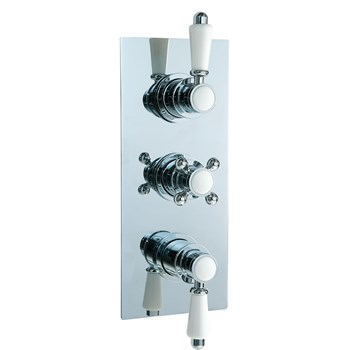 Phoenix Concealed 3 Control Thermostatic Shower Valve & Diverter With Traditional Handles - 3 Outlet
