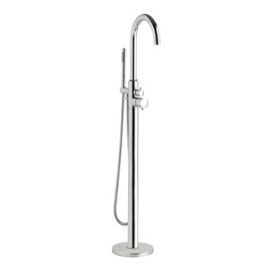Hudson Reed Thermostatic Single Lever Floor Standing Bath Shower Mixer With Shower Handset and Hose