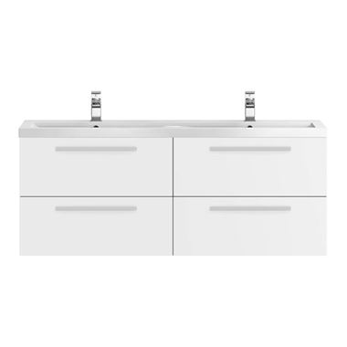 Hudson Reed Quartet 1440mm Wall Mounted Double Basin Vanity Unit - Gloss White