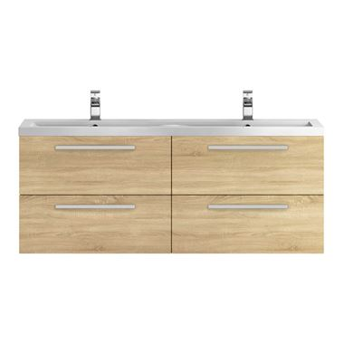 Hudson Reed Quartet 1440mm Wall Mounted Double Basin Vanity Unit - Natural Oak