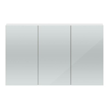 Hudson Reed 1350mm Mirror Cabinet - Gloss White