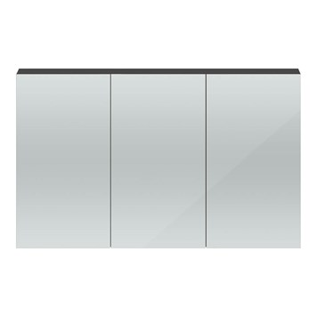 Hudson Reed 1350mm Mirror Cabinet - Gloss Grey