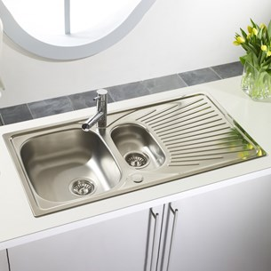 Astracast Quasar 1.5 Bowl Polished Stainless Steel Sink with Reversible Drainer - 965 x 500mm