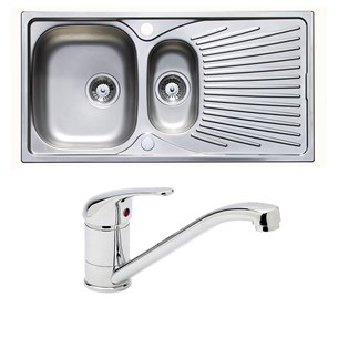 Astracast Quasar 1.5 Bowl Stainless Steel Sink & Vellamo Echo Kitchen Sink Mixer Tap