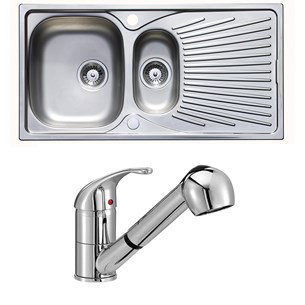 Astracast Quasar 1.5 Bowl Stainless Steel Sink & Vellamo Echo Pull Out Spray Kitchen Mixer Tap