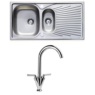 Astracast Quasar1.5 Bowl Stainless Steel Sink & Vellamo Twist Kitchen Sink Mixer Tap