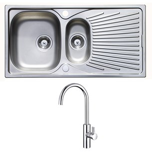 Astracast Quasar 1.5 Bowl Stainless Steel Sink & Waste Kit with Drainer and Vellamo Andaman Single Lever Mono Kitchen Mixer