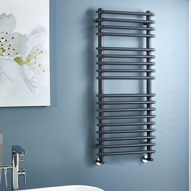 Phoenix Gardo Pre Filled Electric Designer Towel Rail - Anthracite - H1200 x W500mm