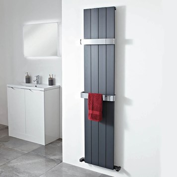 Phoenix Eon Designer Wall Mounted Aluminium Radiator - Anthracite - H1200 x W375mm