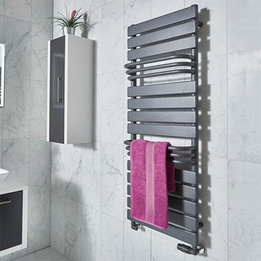 Phoenix Lift Pre Filled Electric Designer Towel Rail - H1290 x W500mm