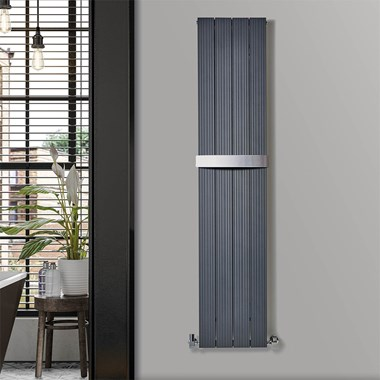 Phoenix Deckon Vertical Designer Wall Mounted Aluminum Radiator - Anthracite - H1200 x 375mm