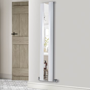 Phoenix Reflect Vertical Designer Wall Mounted Mirrored Radiator - White - H1800 x W365mm