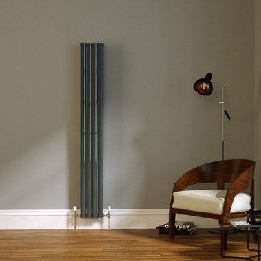 Brenton Wilis Double Panel Designer Radiator - Anthracite - 1800 x 236mm