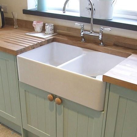 Butler Rose Fireclay Ceramic White Double Belfast Kitchen Sink