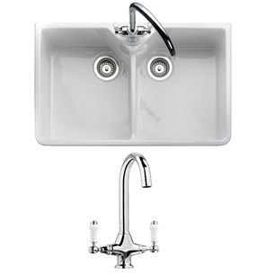 butler rose fireclay ceramic white double belfast kitchen sink tap waste pack
