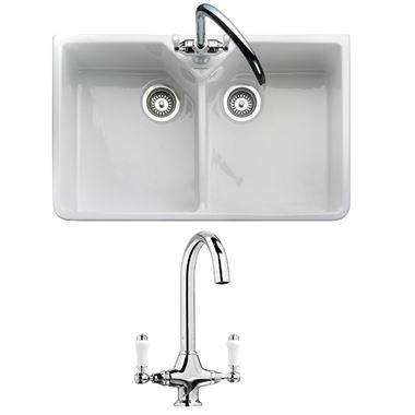 RAK 800 Gourmet Double Belfast White Ceramic Kitchen Sink & Vellamo Victoria Traditional Kitchen Mixer Tap