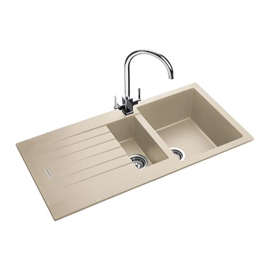 Rangemaster Andesite Stone Igneous Granite 1.5 Bowl Sink with Reversible Drainer & Waste Kit - 1000 x 500mm