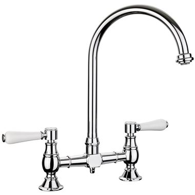Rangemaster Belfast Traditional Bridge Kitchen Sink Mixer Tap - Chrome