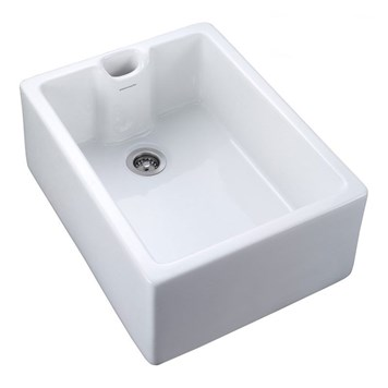 Rangemaster Classic Belfast 1 Bowl White Fire Clay Ceramic Sink - 595 x 455mm