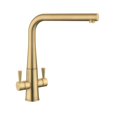 Rangemaster Conical Twin Lever Mono Kitchen Mixer Tap - Brushed Brass