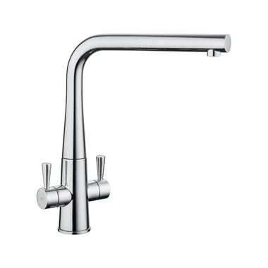 Rangemaster Conical Twin Lever Mono Kitchen Mixer Tap - Polished Chrome