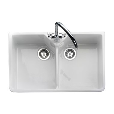 Rangemaster Double Bowl Belfast White Fireclay Ceramic Kitchen Sink & Waste Kit with Overflow - 795 x 491mm