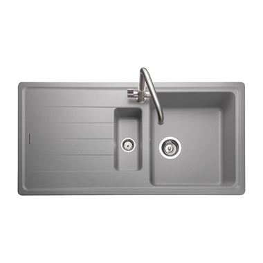 Rangemaster Elements 1.5 Bowl Dove Grey Igneous Granite Composite Kitchen Sink & Waste Kit - 1000 x 500mm
