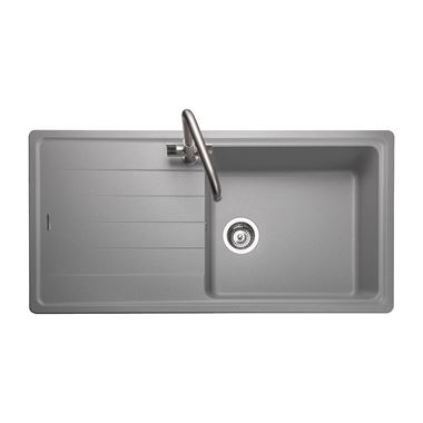 Rangemaster Elements 1 Bowl Dove Grey Igneous Granite Composite Kitchen Sink & Waste Kit - 1000 x 500mm