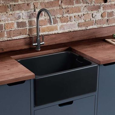 Rangemaster Farmhouse Belfast 1 Bowl Fireclay Anthracite Ceramic Kitchen Sink & Waste Kit - 595 x 455mm