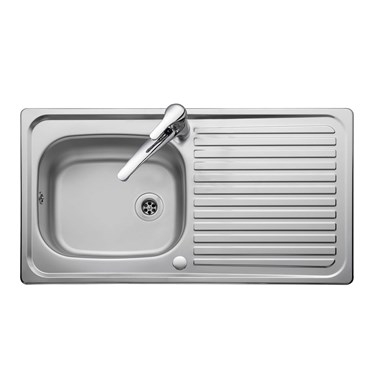 Rangemaster Linear 1 Bowl Satin Stainless Steel Sink & Waste Kit with Reversible Drainer - 950 x 508mm