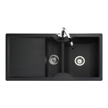 Rangemaster Lunar 1.5 Bowl Neo-Rock Black Sink & Waste Kit - Reversible